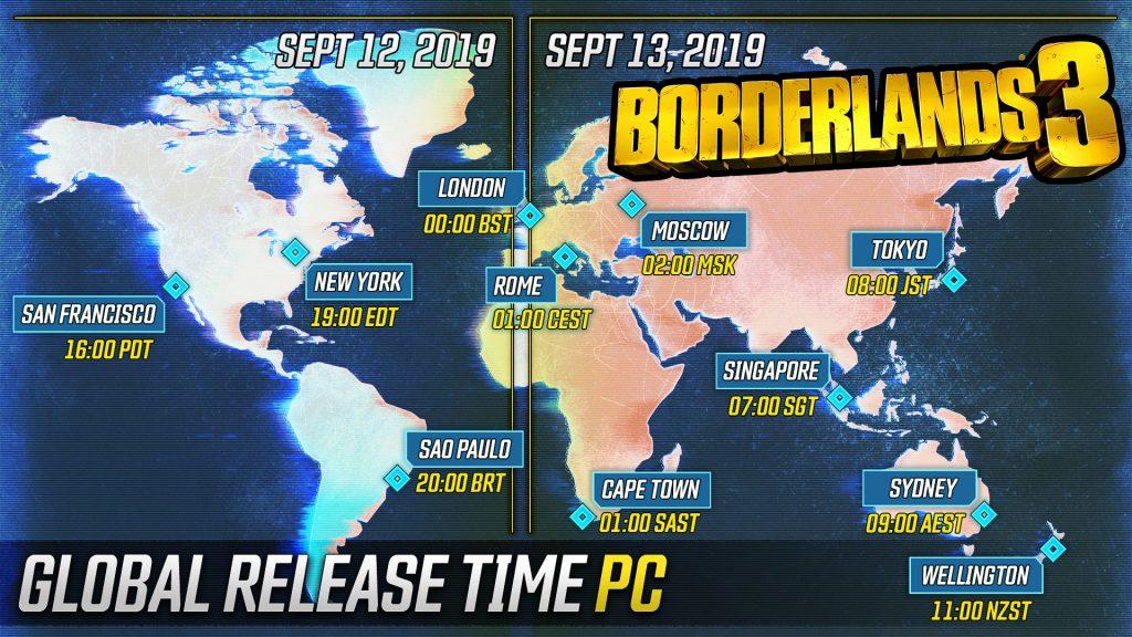 Borderlands 3 Release-Uhrzeit für PC