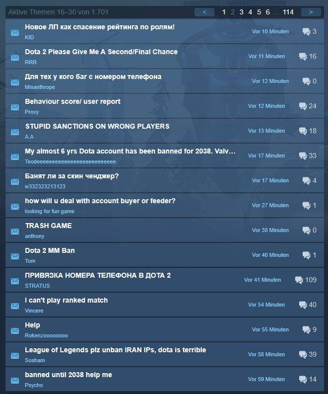 DotA 2 Steam Beschwerden Sperre
