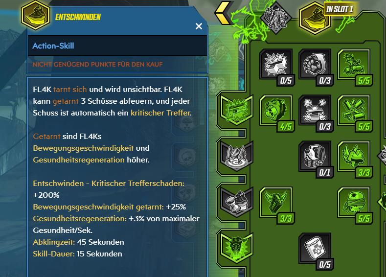 Borderlands 3 FL4K Action-Skill Entschwinden