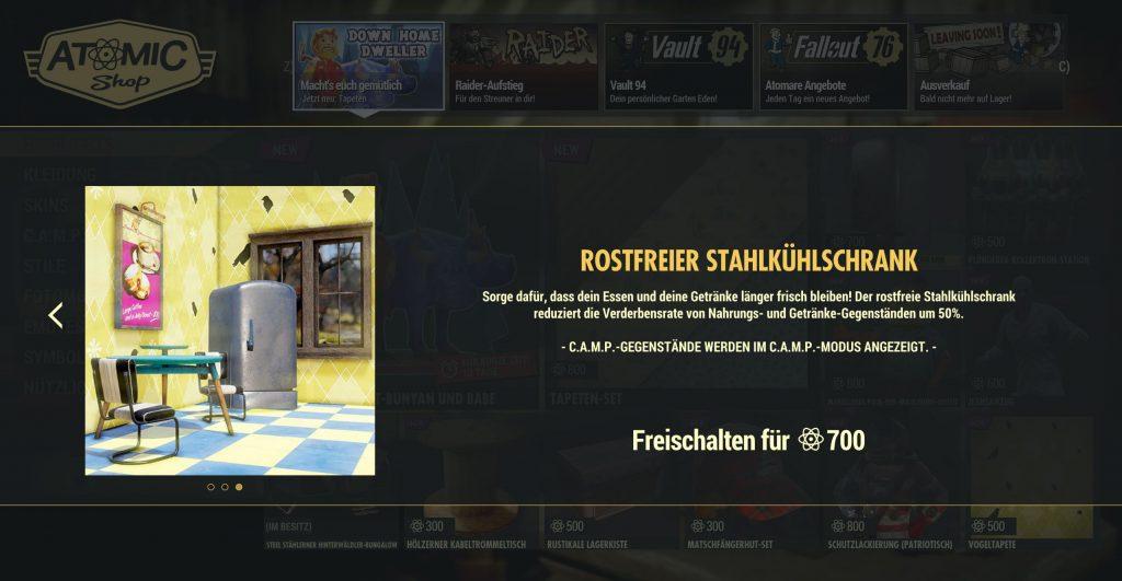 Fallout 76 Kühlschrank im Shop
