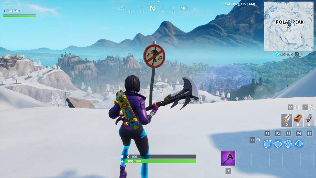 Fortnite Polar Peak Tanzen Verboten Schild