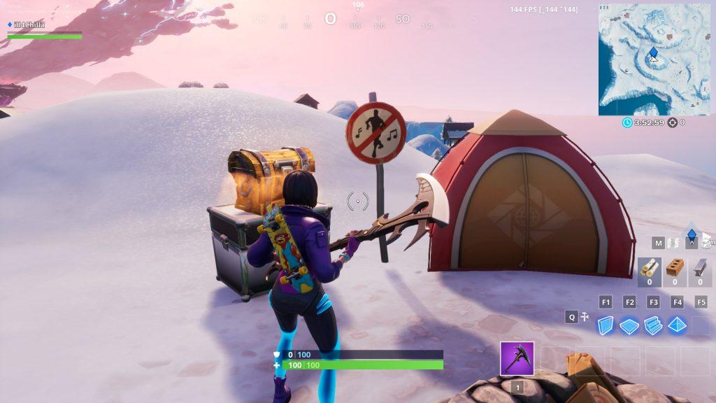 Fortnite Polar Peak Tanzen Verboten Schild 2