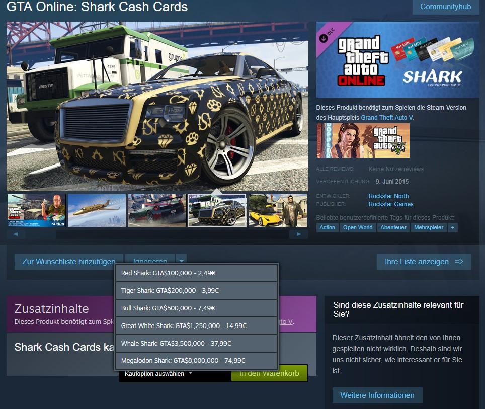 GTA Online Shark Card Preise