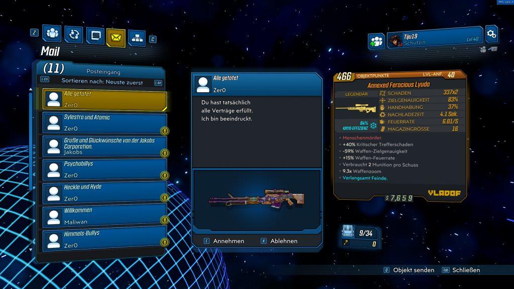 Legendäre Waffe Lyuda Borderlands 3 Zer0