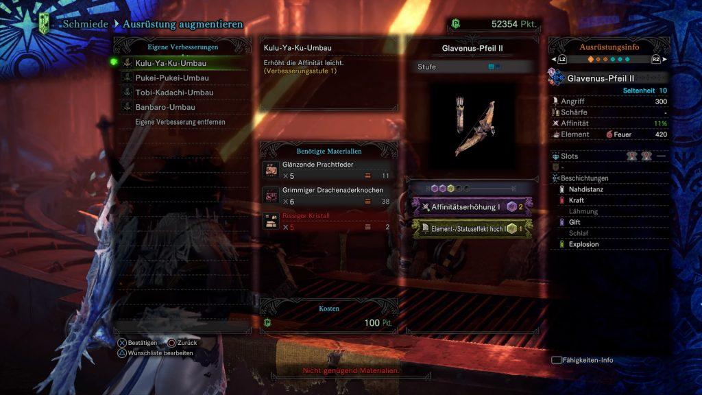 Monster Hunter World Iceborne Waffe augmentieren eigene Verbesserung
