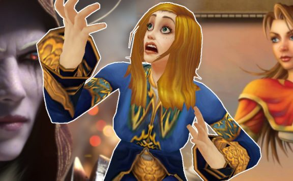 WoW Classic Female Mage shock background sylvanas mage title 1140×445