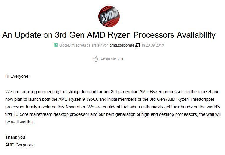 AMD-Hinweis auf Verspätung