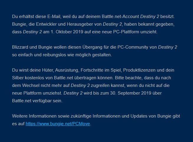Destiny 2 Blizzard Email Steam Umzug