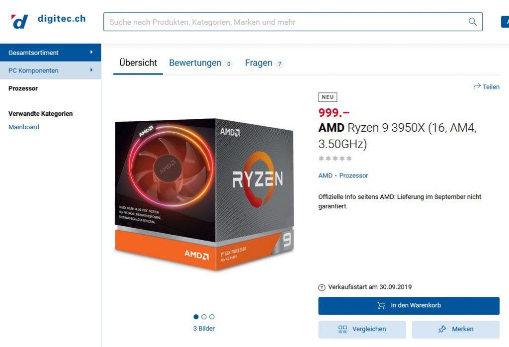 Schweizer Händler listet Ryzen 9 3950X