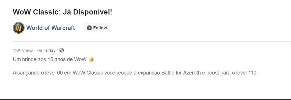 WoW Classic Facebook Brasilien Angebot