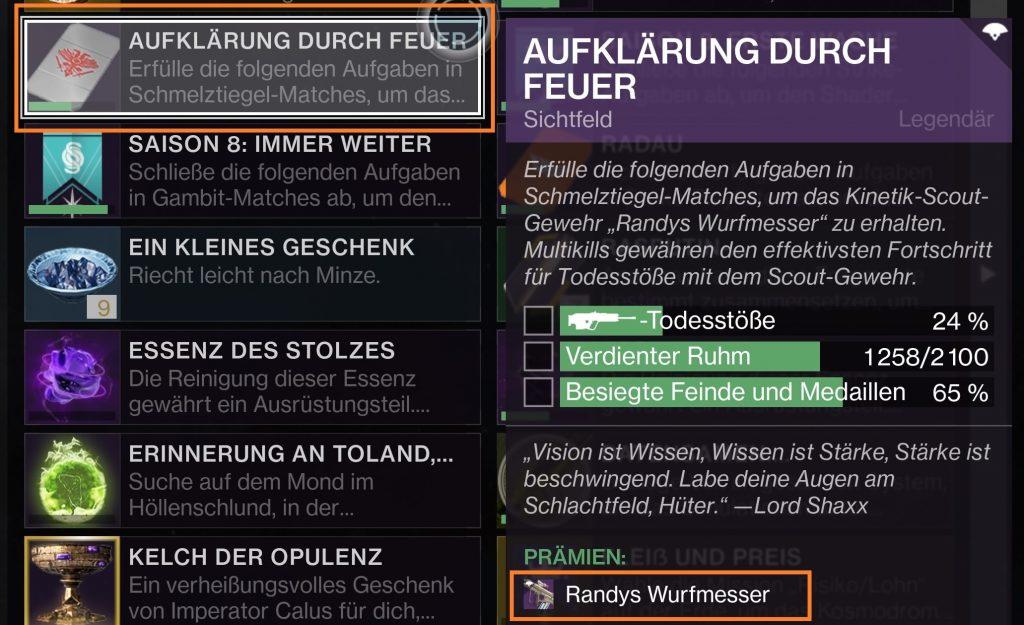 Quest Randys Wurfmesser - Aufklärung durch Feuer