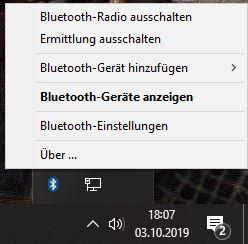 Bluetooth - in der Taskleiste bei Windows 10