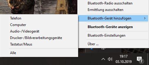 Bluetooth Windows 10 Gerät hinzufügen