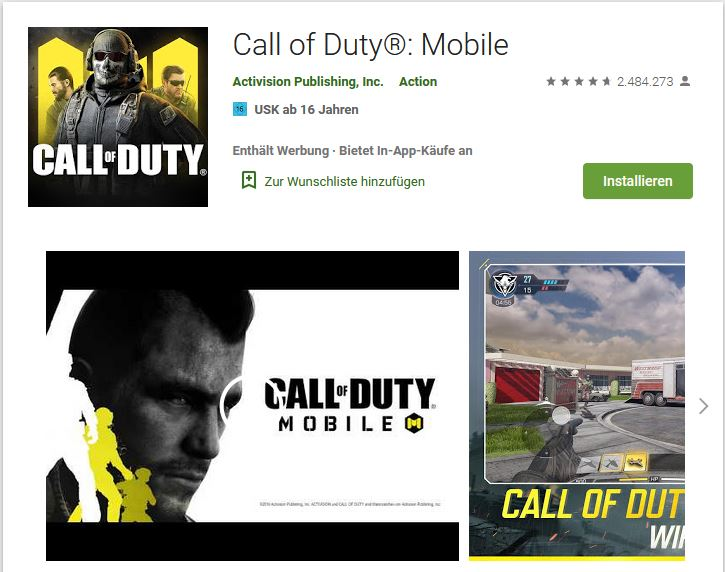 Call of Duty Mobile Google Play
