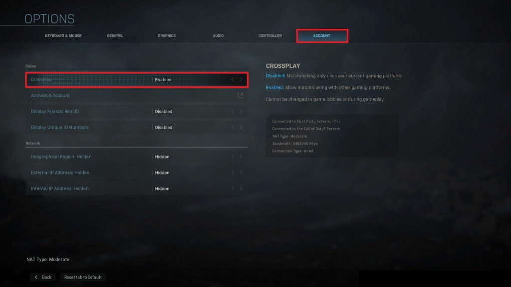 Call of Duty Modern Warfare Crossplay Option