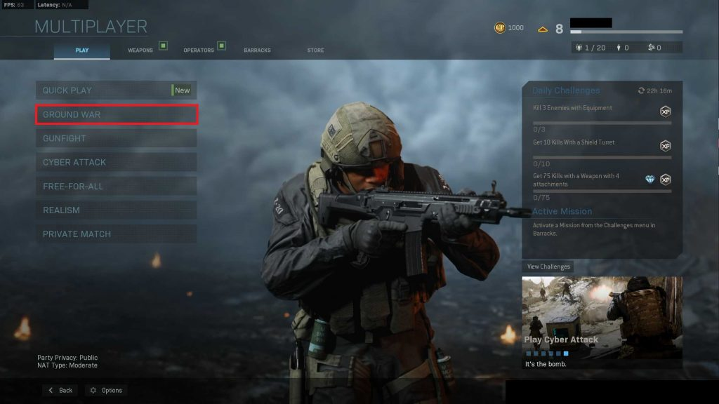 Call of Duty Modern Warfare Ground War auswahl
