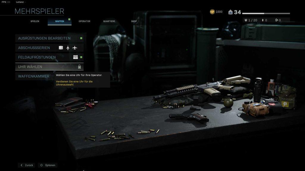 Call of Duty Modern Warfare Uhren Freischalten Menü