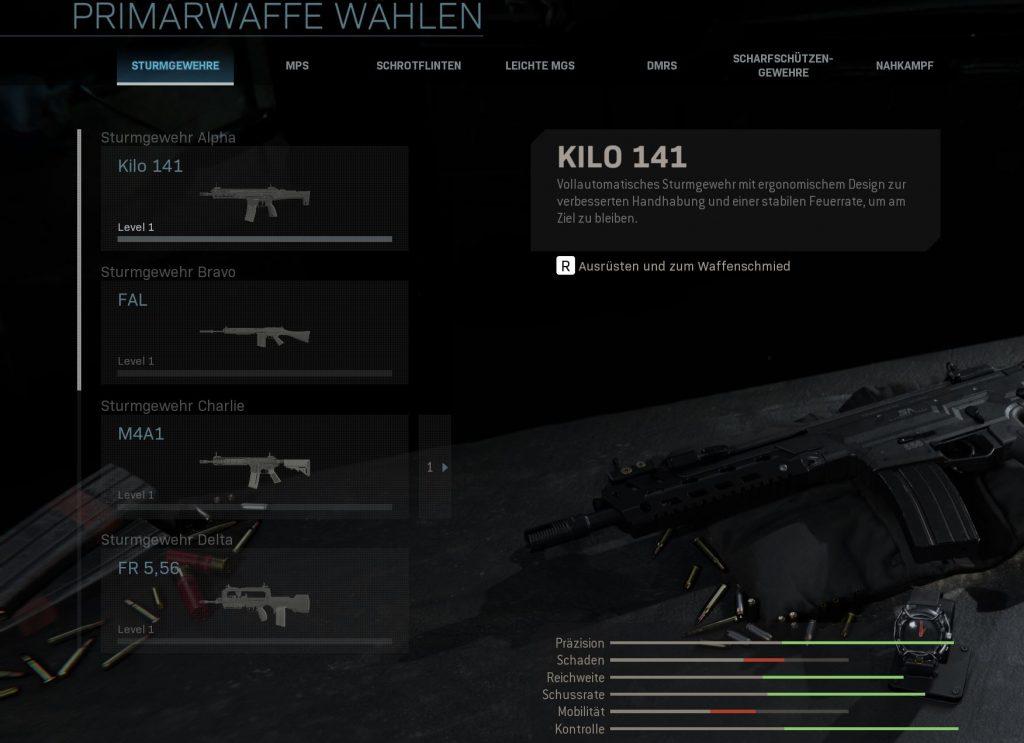 Call of Duty Modern Warfare Waffen gattungen