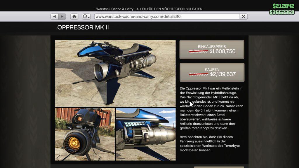 GTA Online Oppressor MK 2 Preis
