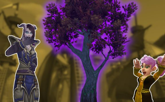 WoW Tree Laughing draenei gnome title 1140×445