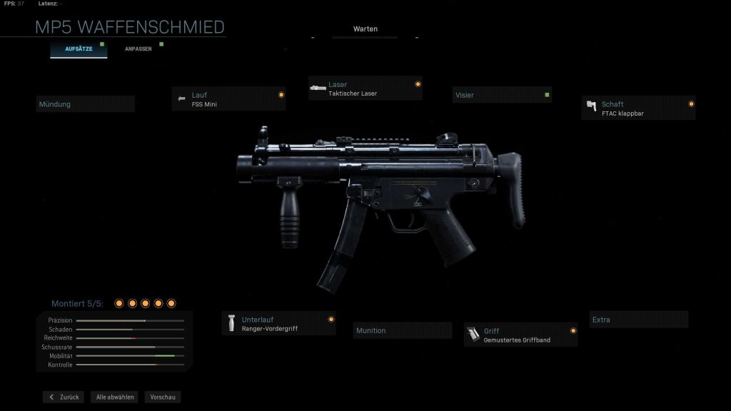Call fo Duty Modern Warfare MP5K mein build