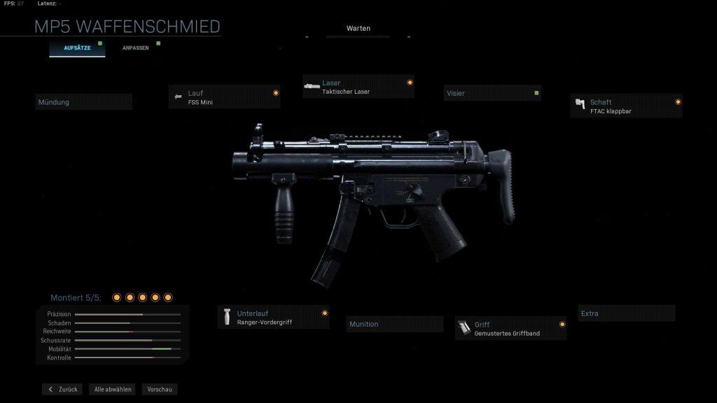 Call fo Duty Modern Warfare MP5K mein build