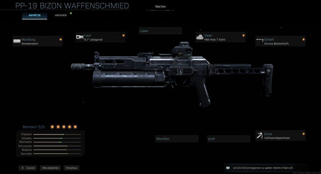 Call of Duty Modern Warfare AR Bizon