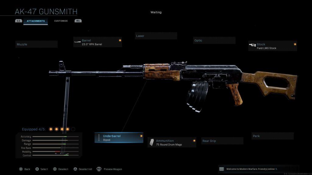 Call of Duty Modern Warfare geheime Waffen RPK