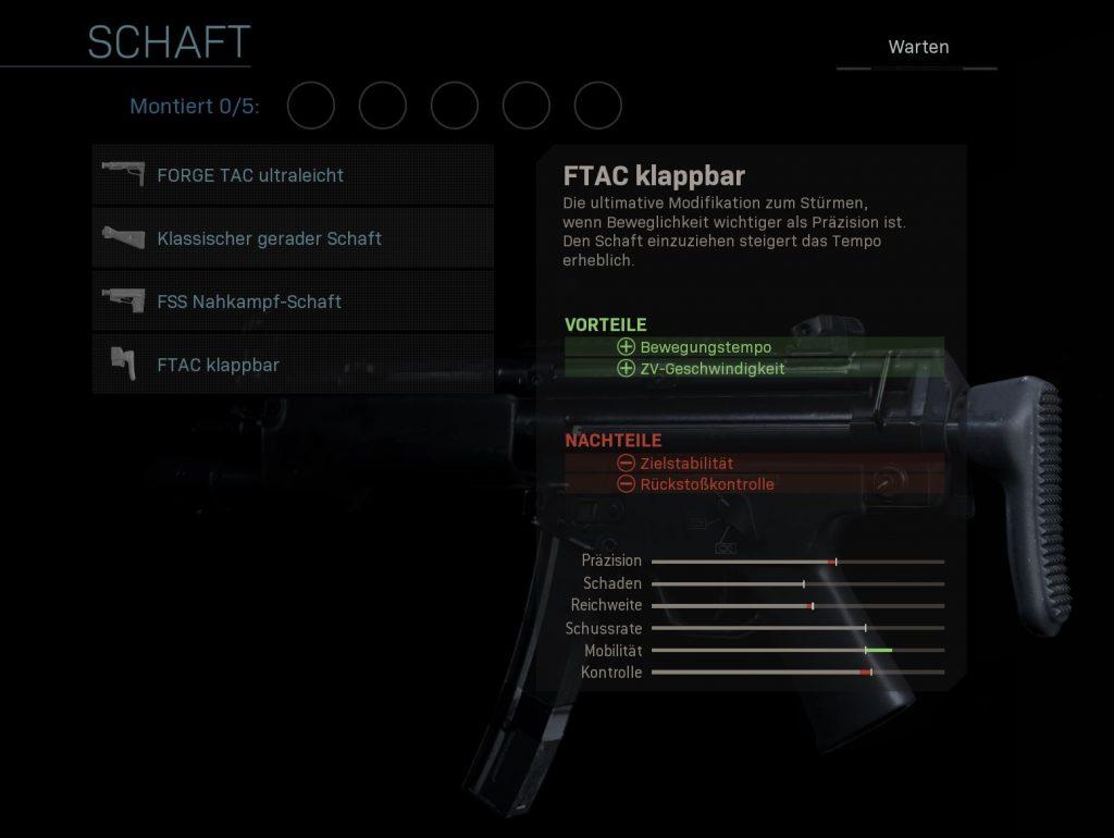 Call of Duty Modern Warfare mp5k schaft