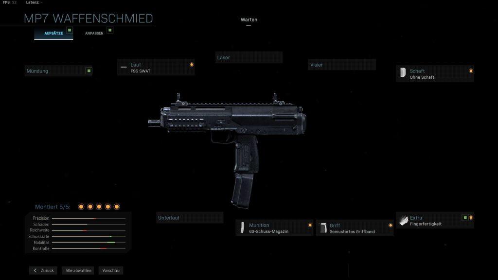 Call of Duty Modern Warfare mp7 run and gun mein setup 2
