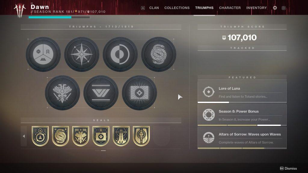 Destiny 2 alle Triumphe