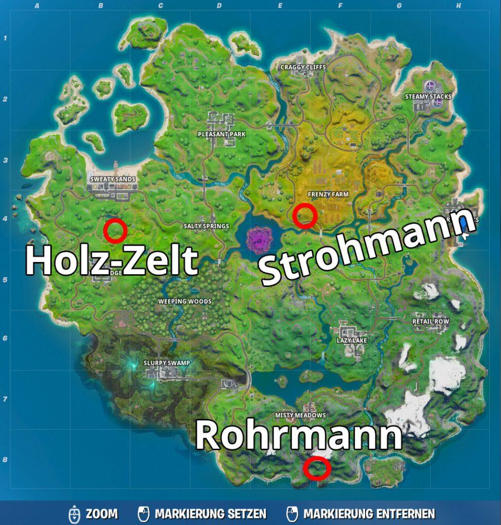 Fortnite Strohmann Holz Zelt Rohrmann Karte