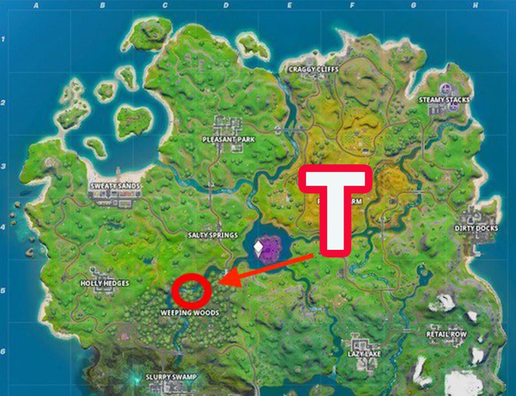 Fortnite-verstecktes-T-Map