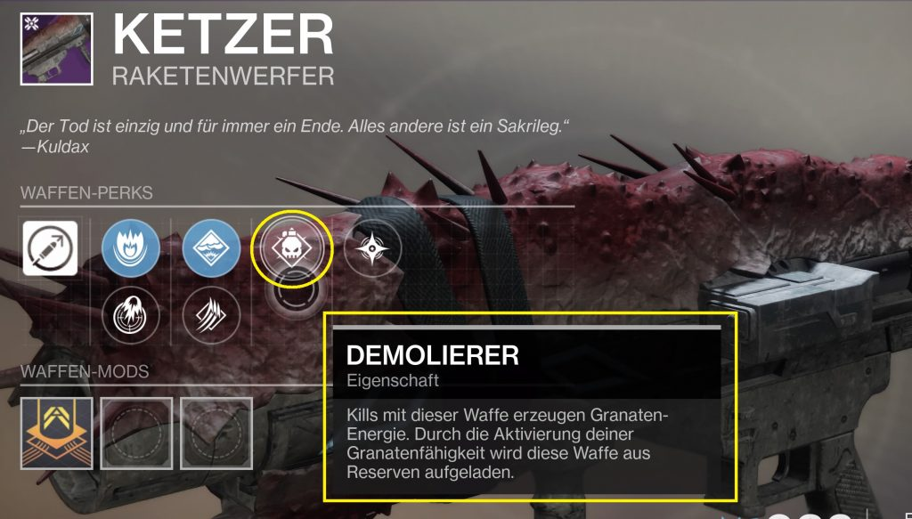 Ketzer rocket destiny shadowkeep