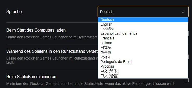 RDR 2 Sprache Launcher