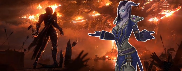 WoW Sylvanas tree burning draenei title 1140x445