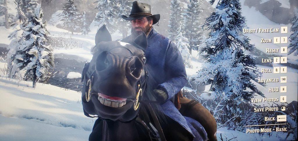 Red Dead Redemption 2 Fotomodus Pferd lächeln