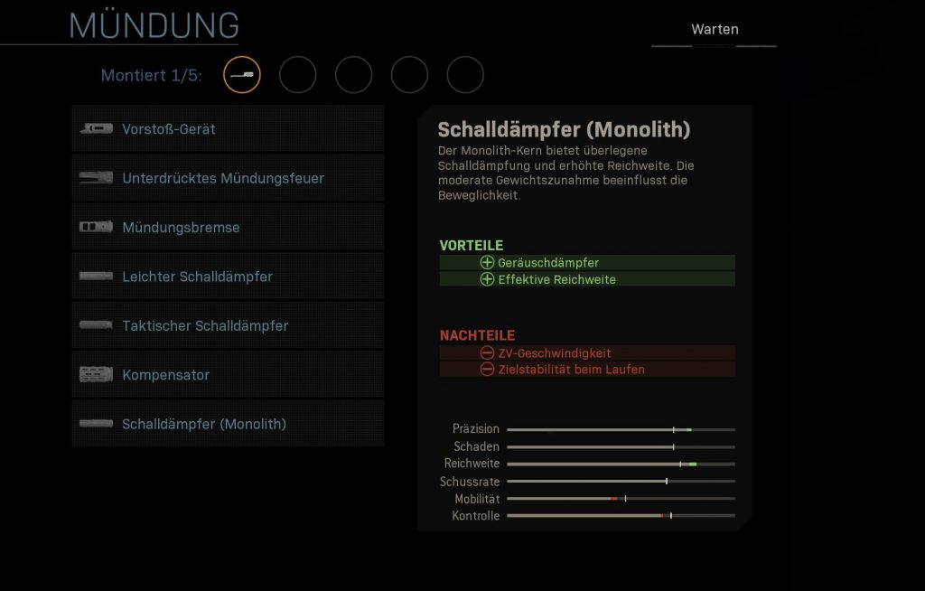 Call fo Duty Modern Warfare Schalldämpfer monolith
