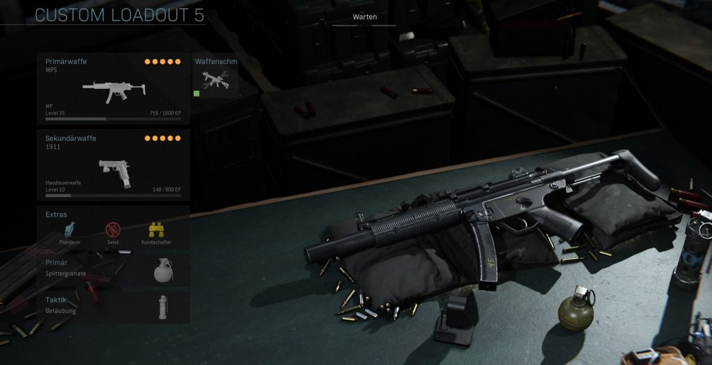 Call fo Duty Modern Warfare Stealth MP5 Loadout