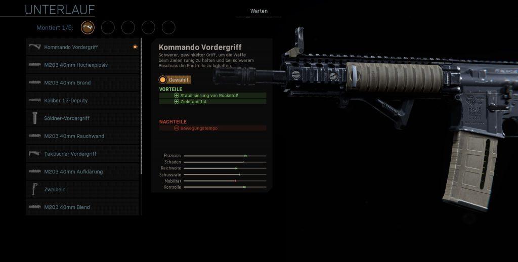 Call fo Duty Modern Warfare m4a1 kommando vordergriff