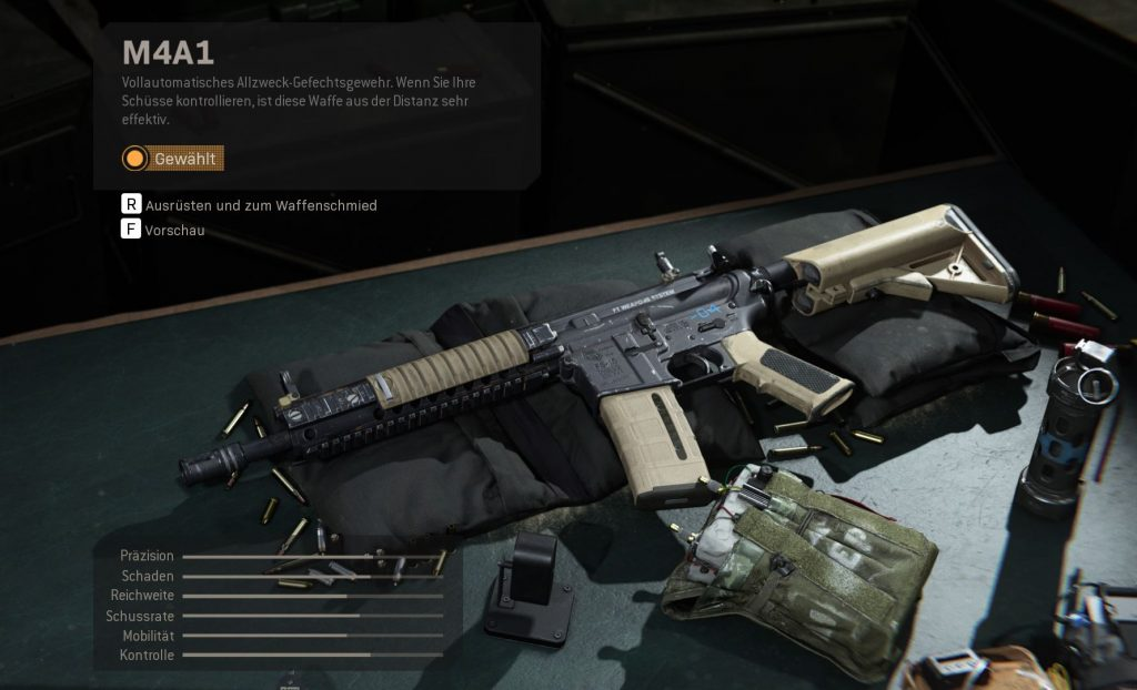 Call fo Duty Modern Warfare m4a1 mit stats