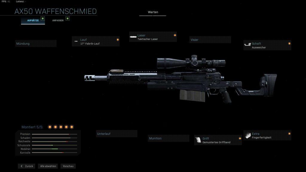 Call of Duty Modern Warfare ax50 modifiziert