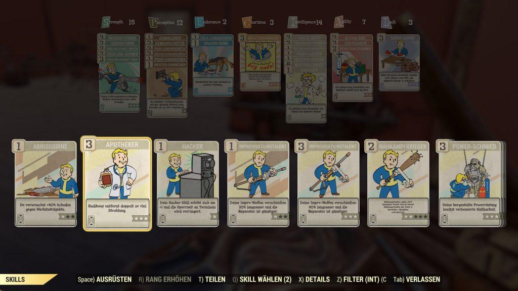 Fallout 76 Intelligenz Perks