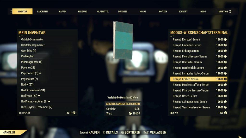 Fallout 76 Mutations Serum bei Modus