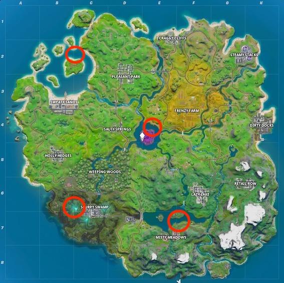 Fortnite-Motorboot-Fundorte-Map