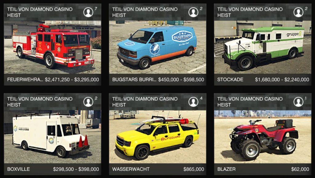 GTA Online Casino Heist war stock neue Autos