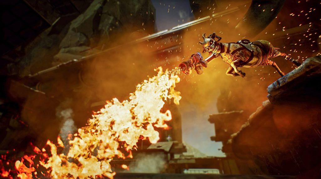 Goat of Duty Ziege mit Flammenwerfer