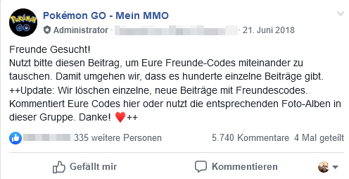 Pokémon GO Facebook Post Freundecodes
