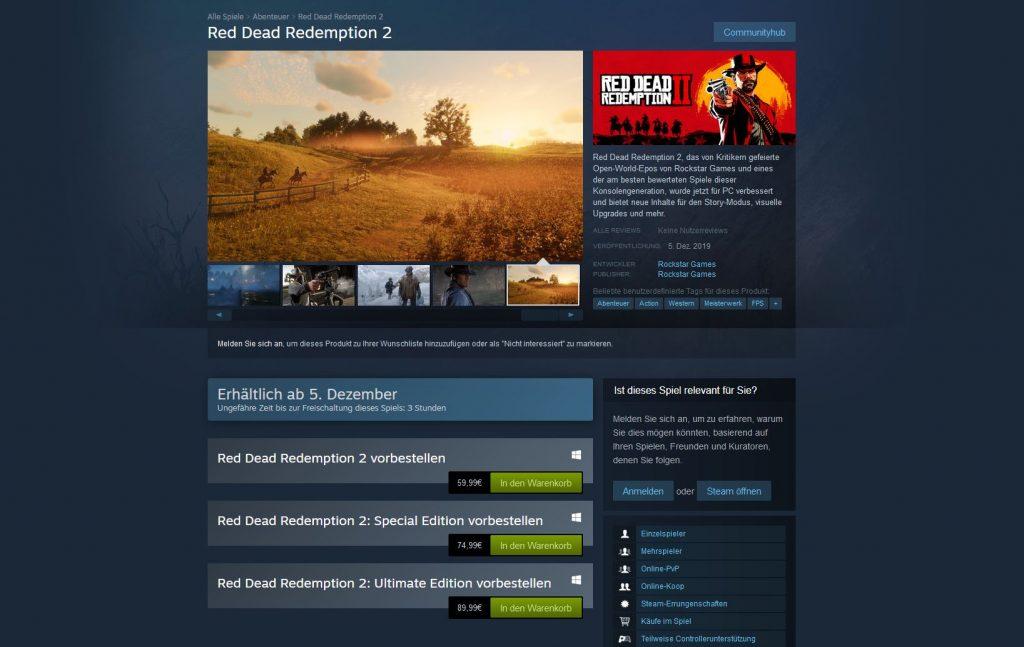 RDR 2 Steam Editionen