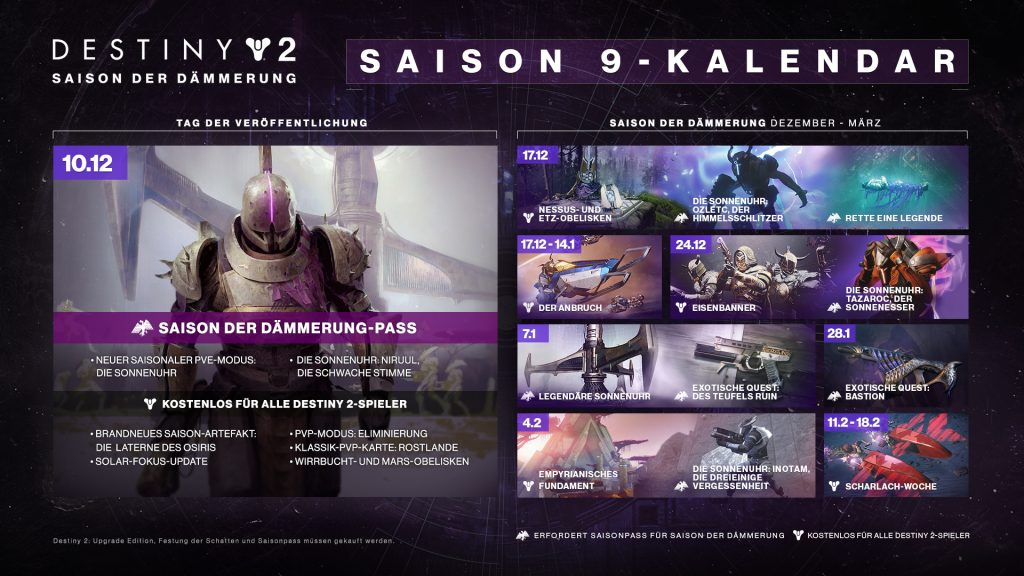 Destiny 2 Season 9 roadmap Deutsch